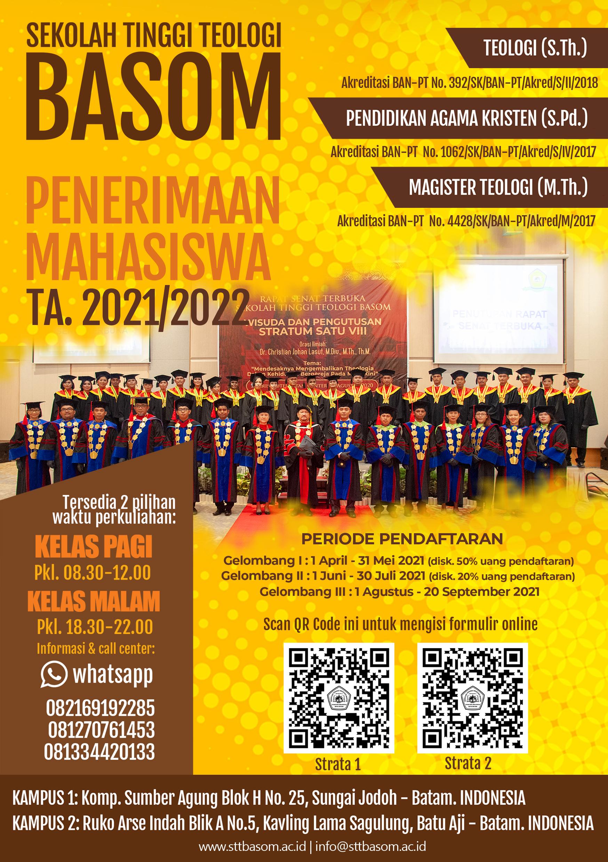 STT Basom Telah Membuka Pendaftaran Mahasiswa Baru untuk TA. 2021/2022